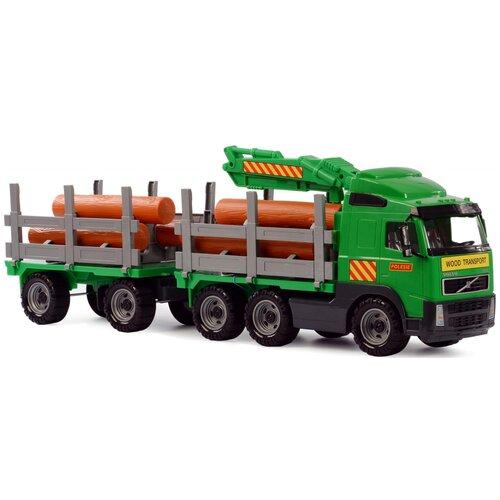 Купить Лесовоз Полесье с прицепом Volvo (8725), 77.5 см, зеленый, Машинки и техника