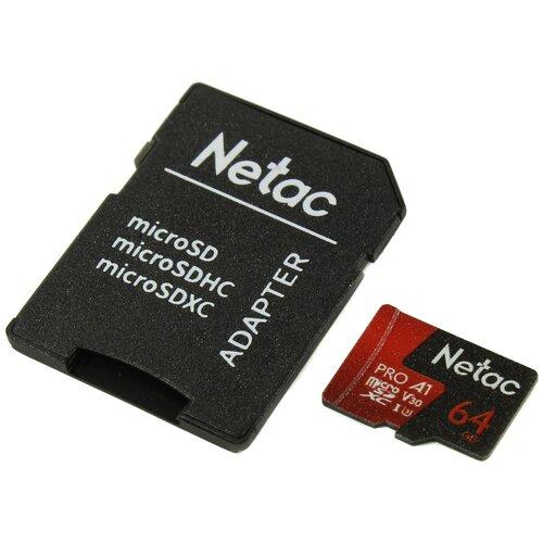 Фото - Карта памяти Netac P500 Extreme Pro 64 GB, чтение: 100 MB/s, адаптер на SD карта памяти netac p500 extreme pro 128 gb чтение 100 mb s
