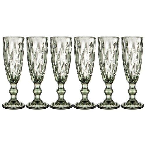 Набор бокалов для шампанского Lefard ромбо 6шт. серия muza color 150 мл / в=20 см (781-116)