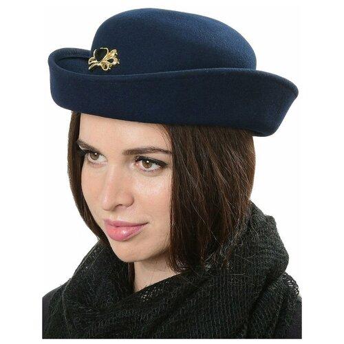 Щелково-фетр Шляпа женская модель 606 цвет синий р 54