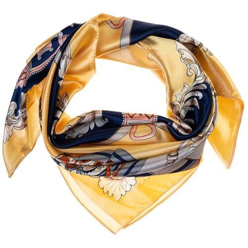 Шелковый платок на шею/Платок шелковый на голову/женский/Шейный шелковый платок/стильный/модный /21kdgPL903011-2vr желтый,синий/Vittorio Richi/80% шелк,20% полиэстер/90x90