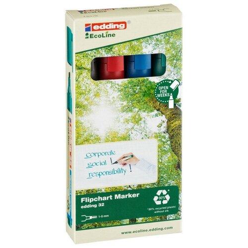 Купить Набор маркеров для флипчартов EDDING 32 Ecoline, 1-5 мм, 4 цвета. карт кор, Маркеры