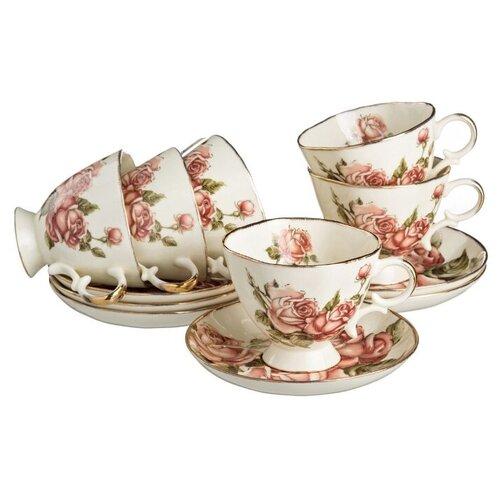 Чайный сервиз Lefard Корейская роза 215-020, 6 персон, 12 предм., белый/розовый lefard заварочный чайник корейская роза 1 3 л белый розовый золотой