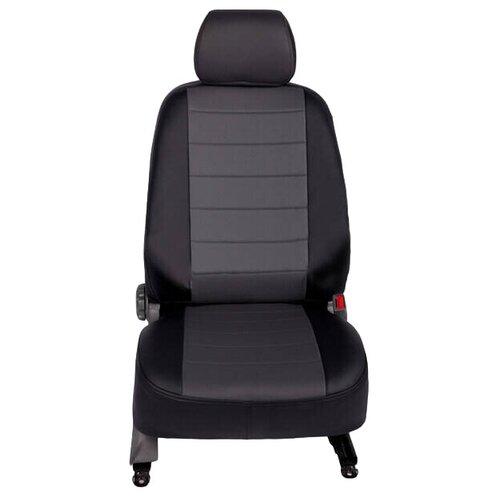 Чехлы на сиденья из экокожи (чёрно-серые) Seintex ST88454 Nissan Almera G15 [2012-2018]