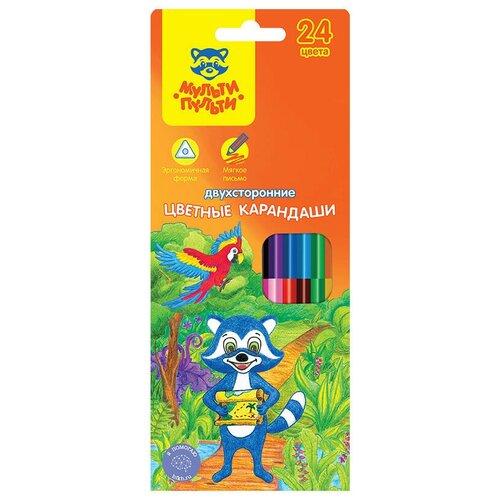 Мульти-Пульти Карандаши цветные двусторонние Енот в тропиках 24 цвета (CP_11494) мульти пульти карандаши цветные енот в испании 24 цвета cp 10758
