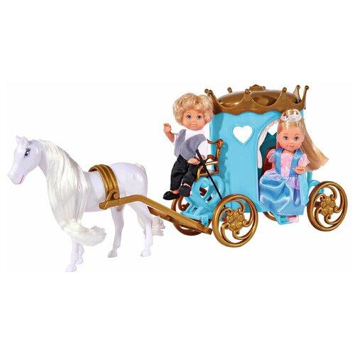 Фото - Набор кукол Simba Еви и Тимми в карете 12 см 5738516 набор кукол simba еви с малышом на прогулке розовая коляска 12 см 5736241 2