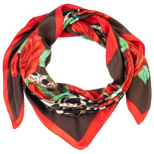 Шелковый платок на шею/Платок шелковый на голову/женский/Шейный шелковый платок/стильный/модный /21kdgpl326-849a3vr красный,коричневый/Vittorio Richi/100% шелк/90x90