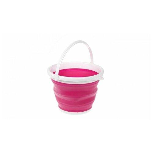 Ведро складное (розовое), силиконовое, круглое, 5 л