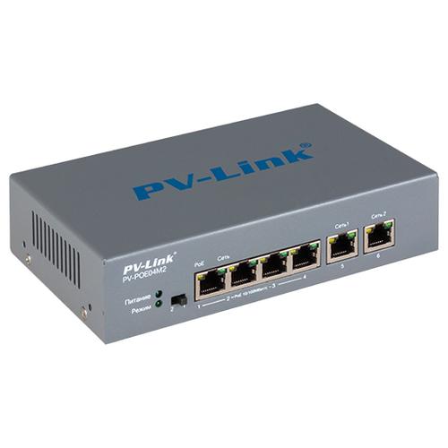 Коммутатор 6 портовый 10/100 Мбит/с с 4 портами PoE PV-Link PV-POE04M2 (ver.2052)