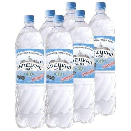 Вода питьевая Липецкий Бювет негазированная, ПЭТ, 6 шт. по 1.5 л
