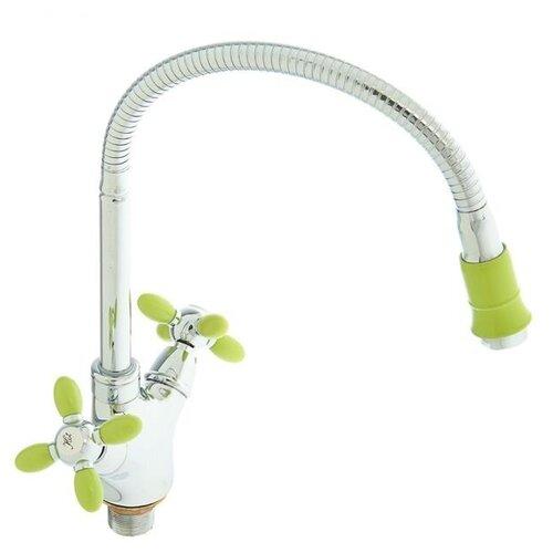 Смеситель для кухни (мойки) Accoona H82 A4882 color зеленый/хром смеситель для кухни мойки accoona h82 a4882 color черный хром