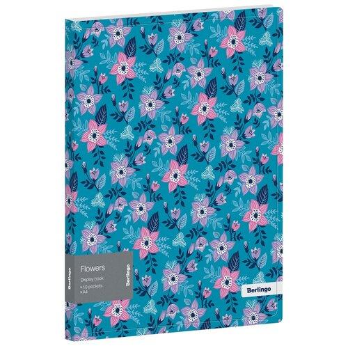 Купить Berlingo Папка с 10 вкладышами Flowers А4, пластик синий, Файлы и папки