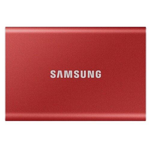 Фото - Внешний SSD Samsung T7 500 GB, красный внешний ssd hp p500 500gb 7pd54aa 500 gb синий