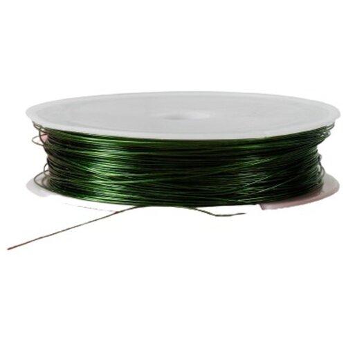 Купить Проволока для бисероплетения D= 0, 5 мм, длина 30 м, цвет зелёный, Сима-ленд, Фурнитура для украшений