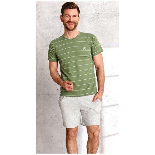 Taro Мужская хлопковая пижама Bruno с меланжевыми шортами, зеленый, M