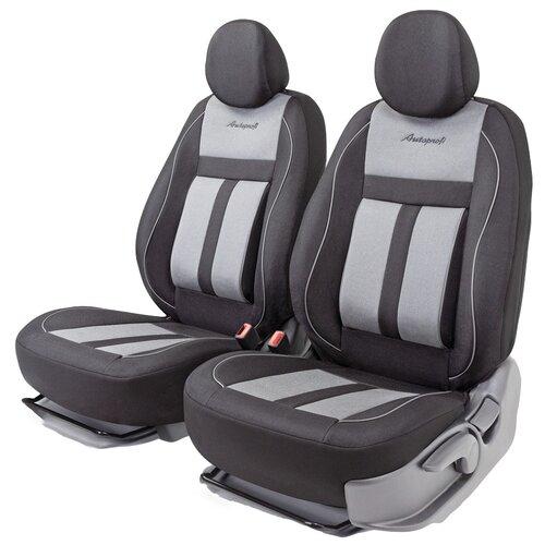 Получехлы на передние сиденья AUTOPROFI CUS-0405 BK/GY CUSHION COMFORT, эко-хлопок, 5 мм поролон, 3D крой, поясничный упор, 4 пред., чёрный/серый