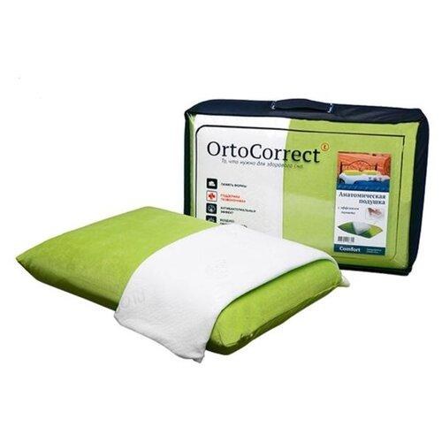 Анатомическая подушка OrtoCorrect Comfort с 2-мя наволочками (велюр цвет фисташка + белая 6343710