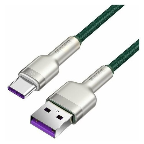 Кабель Baseus Cafule Cable USB - USB Type-C 5 A 1 м, цвет Зеленый/Серый кабель baseus high density braided fast charging cable usb type c usb type c 5 a 1 м цвет