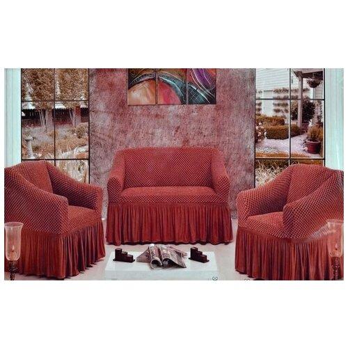 Чехлы Престиж фактура соты на Диван+2 Кресла, бордо