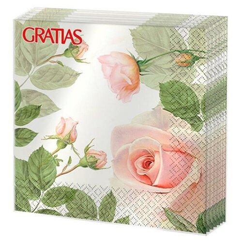 Салфетки бумажные 3сл 33см 20л Gratias Утренняя роза