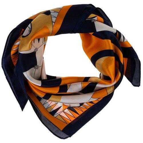 Шелковый платок на шею/Платок шелковый на голову/женский/Шейный шелковый платок/стильный/модный /21kdg70951101-12vr Белый,Синий/Vittorio Richi/80% шелк,20% полиэстер/70x70