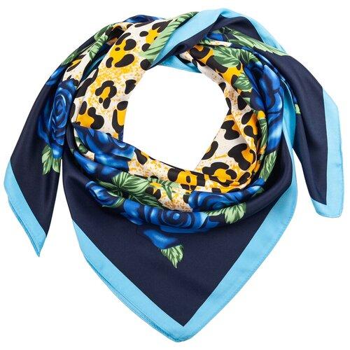 Шелковый платок на шею/Платок шелковый на голову/женский/Шейный шелковый платок/стильный/модный /21kdg85326-849a7vr синий,голубой/Vittorio Richi/100% шелк/90x90