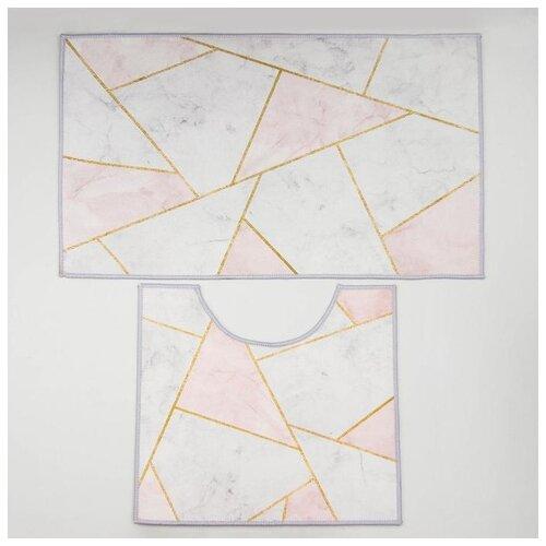 Фото - Набор ковриков для ванны и туалета 2 шт 50х80, 40х50 см Гео цвет розово-серый 5411407 набор ковриков для ванны и туалета 2 шт 40х50 50х80 см галька ракушки цвет бордовый 2987264