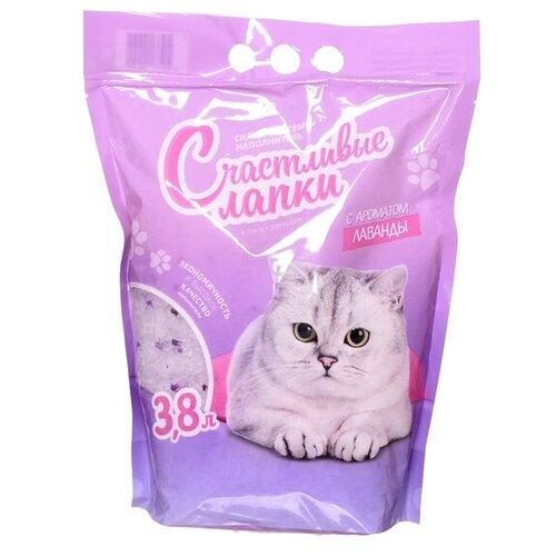 Фото - Впитывающий наполнитель Счастливые лапки силикагелевый с ароматом лаванды, 3.8 л впитывающий наполнитель for cats с ароматом зеленого чая 4 л