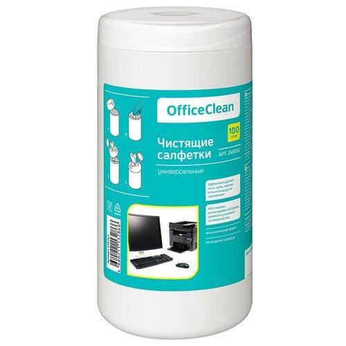 Салфетки чистящие влажные OfficeClean универсальные в тубе 100шт.