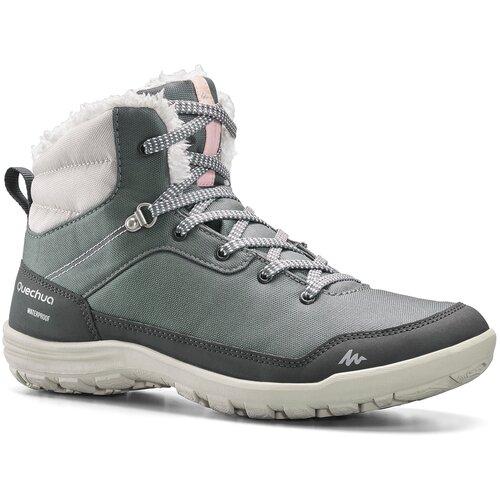 Ботинки теплые водонепроницаемые для зимних походов SH100 WARM средние жен., размер: EU38, цвет: Сине-Серый/Светло-Серый QUECHUA Х Декатлон