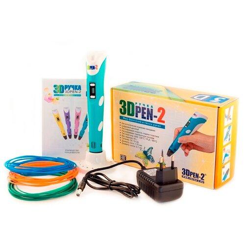 Детская 3D ручка / 3д ручка / 3d-ручка с инструкцией / ABS PLA пластик / 3DPEN набор с пластиком / Цвет голубой