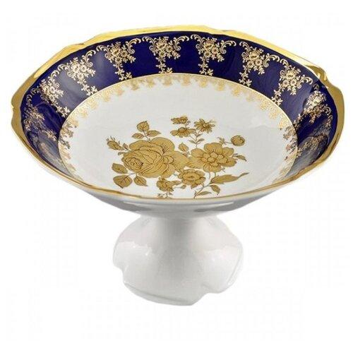 ваза с крышкой мэри стекло 19 см Ваза для фруктов Мэри-Энн Темно-синяя окантовка с золотом, 23 см, Leander