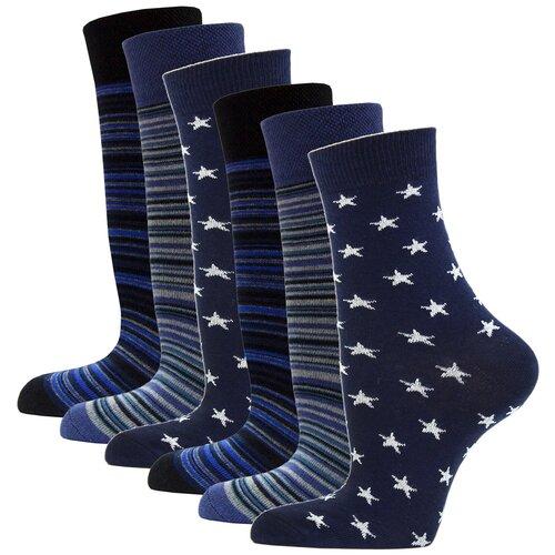 Носки женские повседневные с рисунком HOSIERY 75217 р 23-25 (36-39 размер ноги) т.синий 6 пар