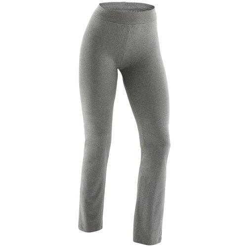брюки женские converse star chevron emb signature p цвет серый 10008821035 размер m 46 Легинсы FIТ+ прямого покроя (брюки), хлопок для фитнеса женские 500 серые, размер: M / W30 L31, цвет: Серый NYAMBA Х Декатлон