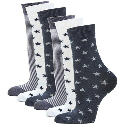 Носки женские повседневные с рисунком HOSIERY 75217 р 23-25 (36-39 размер ноги) серый 6 пар