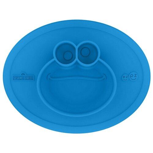 Купить Тарелка EZPZ Тарелка Cookie Monster Mat Limited Edition, синий, Посуда