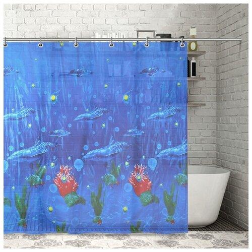 Фото - Штора для ванной Дельфины, 180х180 см, PEVA 1152744 штора для ванной доляна графика 180х180 732658 синий
