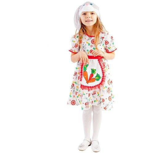 Купить Костюм пуговка Зайка Лена (1055 к-19), белый/красный/оранжевый, размер 110, Карнавальные костюмы