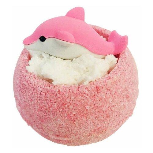Купить Бомбочка для ванн, бурлящий шар с игрушкой. Шарик Дельфинчик розовый, гейзер для ванн 130гр, Bomb Master