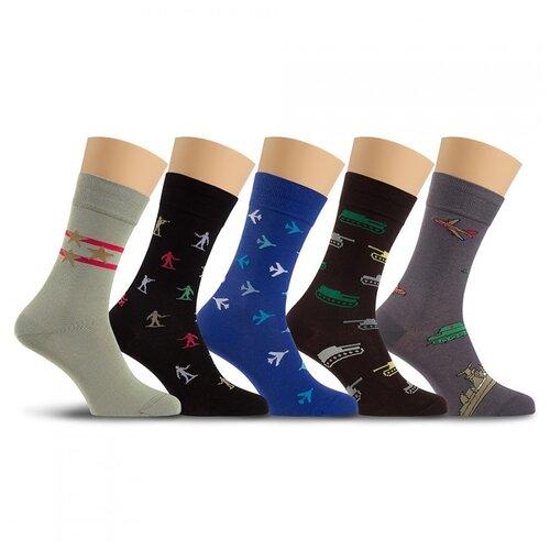 Набор 5 пар носков LorenzLine Р33, чёрно-зеленый, 29 (размер обуви 43-44)