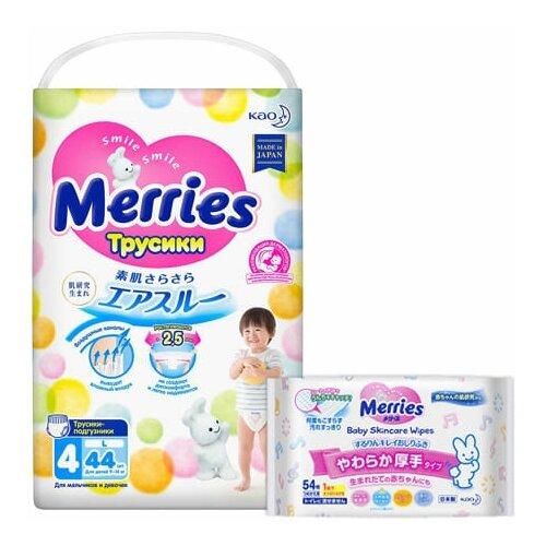 Купить Набор Трусики Merries L (9-14 кг) 44 шт + влажные салфетки 54 шт, Влажные салфетки