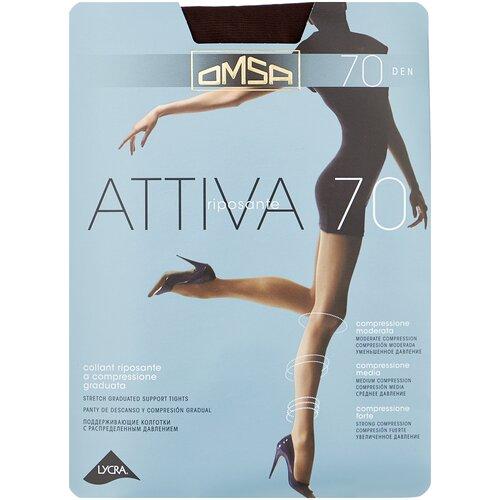 Колготки Omsa Attiva, 70 den, размер 2-S, cioccolato (коричневый) колготки omsa attiva 70 den размер 2 s camoscio коричневый