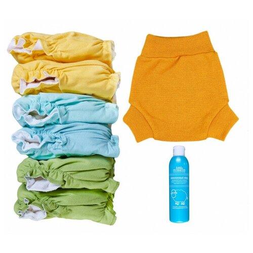 Little Pirate подгузники многоразовые (5-18 кг) 6 шт. + пеленальные штанишки S (3-8 кг) 1 шт., шафран