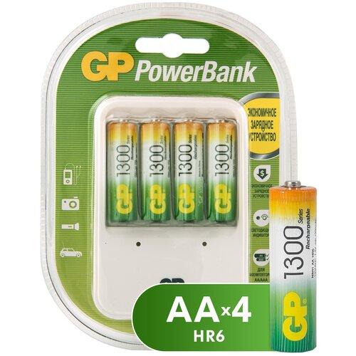 Фото - Аккумулятор Ni-Mh 1300 мА·ч GP Rechargeable 1300 Series AA + Зарядное устройство PowerBank, 4 шт. зарядное устройство gp pb320gs 2cr1