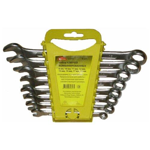 Набор ключей гаечных комбинированных, хромированных, 8 штук набор комбинированных гаечных ключей stanley maxidrive plus 8 шт