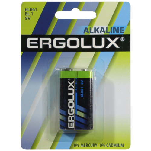 Фото - Батарейка Крона щелочная Ergolux 6LR61 BL-1 9V 1 шт батарейка a23 12v для брелоков сигнализаций щелочная 1 шт 23a 01
