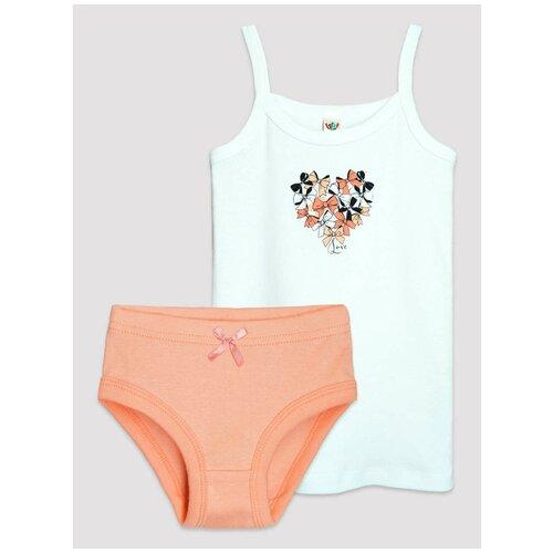 Купить Комплект нижнего белья Let's Go размер 152-158, белый/персиковый, Белье и купальники