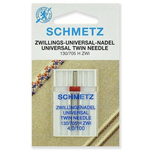 Игла/иглы Schmetz 130/705 H ZWI 4/100 двойная универсальная серебристый игла иглы schmetz 130 705 h zwi 4 90 двойные универсальные серебристый