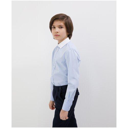 Сорочка голубая с длинным рукавом Gulliver для мальчиков, цвет голубой, размер 134, модель 200GSBC2308