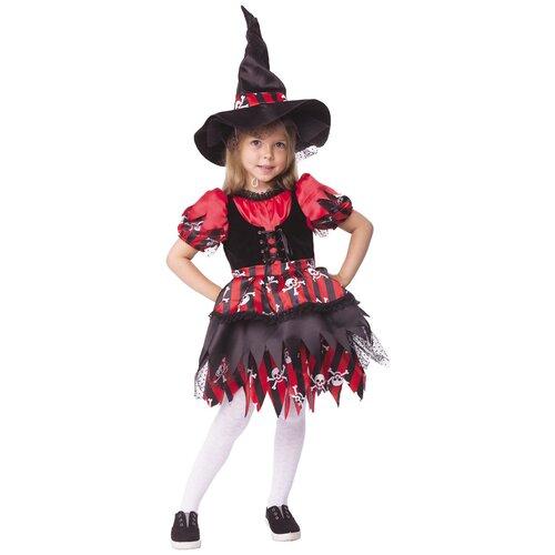 Купить Костюм пуговка Ведьмочка (2064 к-19), черный/красный, размер 110, Карнавальные костюмы
